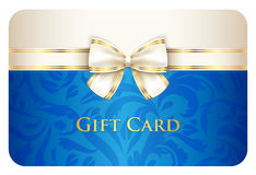 Blue gift card with damask ornament and cream ribb. Exclusive scarlet gift card with damask ornament and cream diagonal ribbon Stock Images