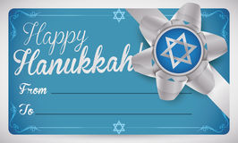 Blue Gift Card with Silver Ribbon and Bow for Hanukkah, Vector Illustration Stock Images