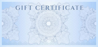 Blue Gift certificate (Voucher) template. Pattern Royalty Free Stock Image