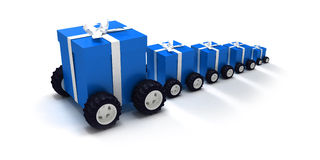 Blue gift convoy. 3D rendering of a line of blue gift boxes with a white ribbons on wheels Royalty Free Stock Image