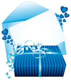 Blue gift. Empty greeting card. Royalty Free Stock Images