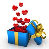 Blue Gift With Flying Red Hearts Royalty Free Stock Photo