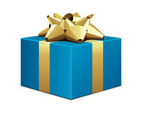 Blue gift with gold bow Stock Photography