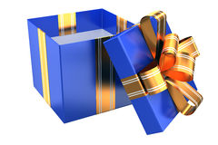 Blue gift with golden ribbons Stock Image