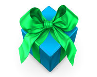 Blue gift with green ribbon Royalty Free Stock Photos