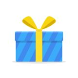 Blue gift or present box with yellow ribbon and bow. Blue gift or present box with yellow ribbon and bow vector isolated on white background. Icon gift box for Royalty Free Stock Photography