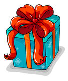 A blue gift with a red ribbon Royalty Free Stock Photo