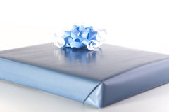 Blue Gift with ribbon Stock Images