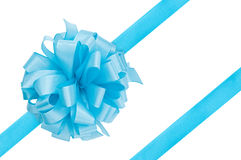 Blue gift ribbon. Isolated on white stock photos