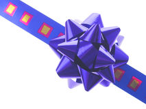 Blue gift ribbon and bow Royalty Free Stock Photo