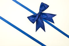 Blue gift, ribbon, bow.  Stock Image