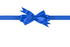 Blue gift ribbon bow straight horizontal isolated on white background Stock Images