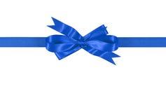Blue gift ribbon bow straight horizontal isolated on white background. Blue gift ribbon bow isolated on white background straight horizontal Stock Images