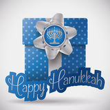Blue Gift with Silver Gift Bow for Hanukkah, Vector Illustration royalty free stock images