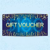 Blue gift voucher. Blue gift voucher with golden ribbons and confetti Royalty Free Stock Photography