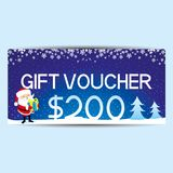 Blue gift voucher. Blue gift voucher with Santa Claus and blue gift box Royalty Free Stock Images