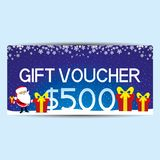 Blue gift voucher. Blue gift voucher with Santa Claus and red gift boxes Royalty Free Stock Photography