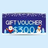 Blue gift voucher. Blue gift voucher with Santa Claus and snowman Stock Photos