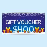 Blue gift voucher. Blue gift voucher with red gift boxes Royalty Free Stock Image