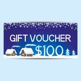 Blue gift voucher. Blue gift voucher with snow covered houses Royalty Free Stock Photography