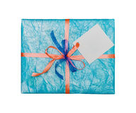 The blue gift which is elegantly packed Stock Photography