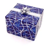 Blue gift on white Stock Photography