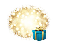 Blue Gift With Gold Bow Stock Photos