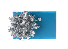Blue gift wrap box with silver bow, isolated Royalty Free Stock Photo