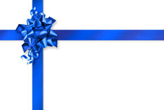Blue gift wrapping. Blue gift wrap ribbons on white background stock images