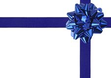 Blue Gift wrapping. Bow and ribbon isolated on white stock images