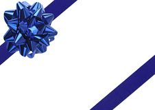 Blue Gift wrapping bow. And ribbon isolated on white stock images