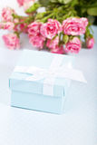 Blue giftbox royalty free stock photo