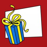 Blue Gifts. Illustration with big blue Christmas gift Stock Images