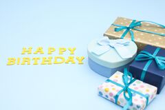 Blue gifts for birthday on blue theme