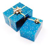 Blue gifts on white Stock Photo