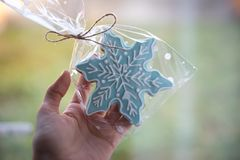 Christmas ginger cookie in the form of a snowflake held in a hand. Blue ginger cookie held in hand  on a green background Royalty Free Stock Photos