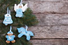 Blue gingerbread cookie on a Christmas Royalty Free Stock Photo