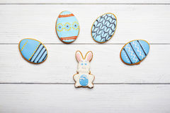 Blue gingerbread cookies on a wooden background Stock Photo