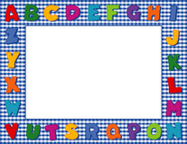 Blue Gingham Alphabet Frame. Multicolored alphabet on a blue gingham frame with copy space for school announcements, posters, fliers, scrapbooks, albums and back Royalty Free Stock Photos