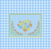Blue Gingham Background and Flowers. Dainty blue gingham with bouquet of flowers in center with border.  Credit: some graphics by Delightful Doodles Royalty Free Stock Images