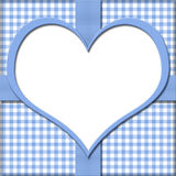 Blue Gingham with Heart Center and Ribbon Background for your me Stock Image