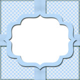 Blue Gingham with Ribbon Background for your message or invitati. On with copy-space in the middle Stock Photography