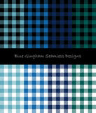 Blue Gingham Seamless Pattern Collection. Eight blue gingham seamless texture pattern collection Stock Photography