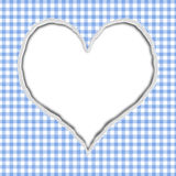 Blue Gingham Torn Background for your message. Or invitation with copy-space in shape of heart Stock Images