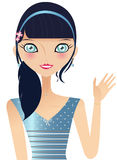 Blue Girl. Prettty Caucasian Woman With Dark Hair And Big Blue Eyes, Wearing A Blue Headband With Flowers And A Blue Dress, Facing Front And Waving Stock Photos