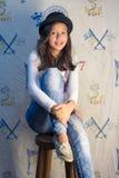 Blue, Girl, Beauty, Sitting stock image