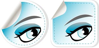 Blue girl eyes sticker set. abstract label vector Stock Images