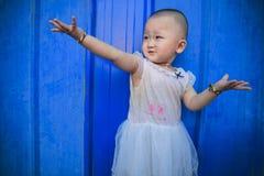 Blue, Girl, Shoulder, Child royalty free stock image