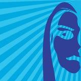Blue girl sketch. Absrtact art stock illustration