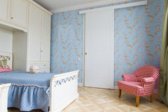 Blue girls bedroom interior. Blue girls bedroom child interior room Royalty Free Stock Image